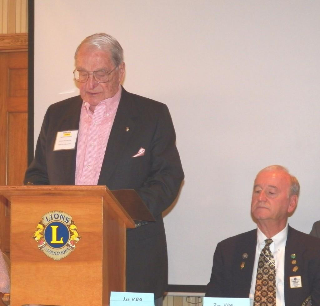 Past District Governor Dennis Powell nominates Lion Ed for DG