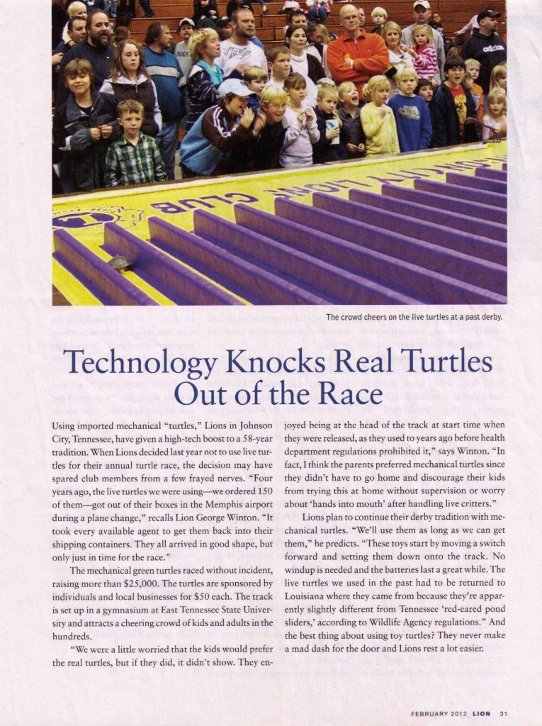 Turtle Derby Article - Lions Magazine